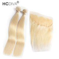 HCDIVA gerade 613 Blondes menschliches Bündel mit Spitze Frontal Malaysisches Reines Haar 2 Bündel mit Schließung 13 * 4