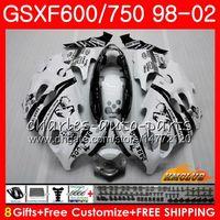 Body Scorpion White para Suzuki Katana GSXF 750 600 GSXF600 98 99 00 01 02 2HC.7 GSX750F GSX600F GSXF750 1998 1999 2000 2001 2002 Kit de carenización