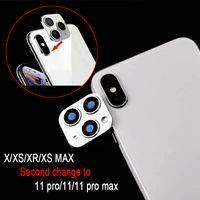 금속 카메라 렌즈 두 번째 변화를위한 아이폰 (11) 프로 맥스 유리 보호 링 커버를 들어 아이폰 X XS MAX 스티커 가짜 카메라