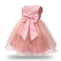 Pizzo vintage senza maniche rosa baby girl dress per 1 anno birthday party dress 6-12-18-24 m wedding party gown bambini infant vestiti y19061001