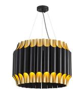 크리 에이 티브 럭셔리 알루미늄 튜브 검정 + 금 LED 펜던트 조명 램프 식사에 대 한 교수형 거실 침실 호텔 카페 로비 LLFA