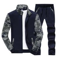 Erkek Retro Dikiş Spor Seti Rahat Standı Yaka Baskı Uzun Kollu Ince erkek Takım Elbise Hırka M-4XL