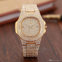 Hip Hop Bling Diamond Watch For Men Gold Stainless Steel Ban...