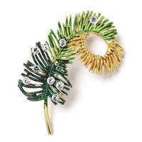 Nizza moda foglia spilla pin strass di cristallo piuma foglie spille per le donne accessori abito abito maglione z057