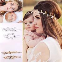 1set Maman et moi de l'or Set Feuille d'argent Bandeau pour Accessoires cheveux paix rameau d'olivier bébé fille mignonne feuilles Infantil hairband