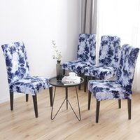 1 4 6pcs Printing Removable Chair Cover Elastic Stretch Slip...