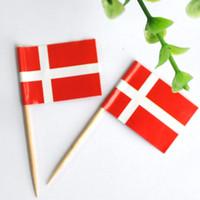 5000 Stuks Deens Vlag Picks Buffet Sandwich Food Party Sticks Toppers Denemarken Vlaggen Cocktail Stick Tand Picks Houten Houten Lijst Decor