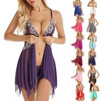 Мода Спящая одежда Большой Размер Ночное платье Женщины Женщины Фронта Закрытие Ночное белье Сексуальное кружевное искушение Nightdress