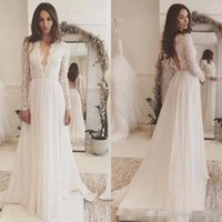 Chic 2018 Lace Long Sleeve Backless Bohemian Beach Country W...