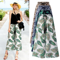 Floral Striped Wide Leg Pants 7 Styles High Waist Loose Trou...