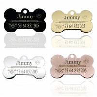 Bone Shape Stainless Steel Dog ID Tag Engraving Name and Pho...