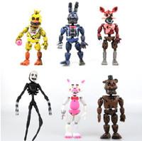 FNAF Pięć Nights w Freddy's 14.5-17 cm Nightmare Freddy Chica Bonnie Funtime Foxy PCV Figurki Model Lalki Zabawki 6 Sztuk / partia Dzieci GIF