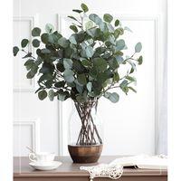 Branche Eucalyptus Feuille artificielle en plastique pour la décoration de mariage Fleur Arrangment Jardin Noël Faux soie plante verte XD22577