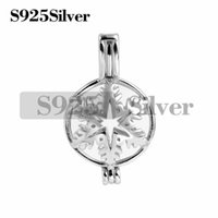 Snowflake Winter Pearl Beads Cage Pendant 925 Sterling Silve...
