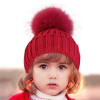 아이 폼은 폼은 Beaies INS 겨울 니트 모자 따뜻한 털 모자 아기 자란 볼 해골 비니 솔리드 어린이 니트 야외 도매 FJ765 캡