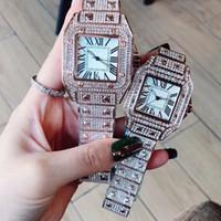 Moda Casal Homens Mulheres Amantes Relógios Gold Relógio De Aço Inoxidável Banda Completa De Diamante Quartz relógios de pulso para homens Relogio Feminino