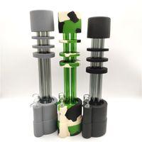 신선한 인기있는 최신 디자인 실리콘 파이프 물 파이프 DAB 조작 흡연 14mm 조인트 3 색 선택 1 유리 그릇