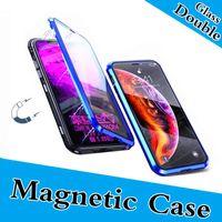 Caja de metal transparente con metal de adsorción magnética de doble vidrio para iPhone Xs Max XR X 7 8 Plus con marco de aleación de aluminio de cubierta completa con vidrio templado