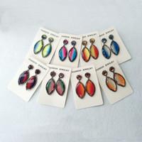 Handgemachte Mode Blattform Regenbogen Glassteinohrringe, baumeln Charme Ohrringe Stein Schmuck Druzy für Frau ER397