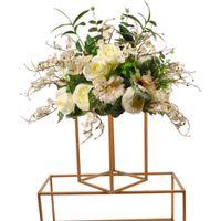 Современные 2020 Золотой цветок вазы напольные вазы Колонка Стенд Металл-роуд Ведущий свадебного стола Centerpiece Цветочные стойки Event Party Decoration