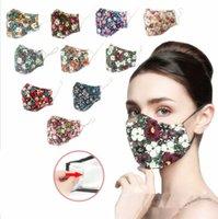 꽃 무늬 인쇄 마스크 통기성 접이식 안티 먼지 세탁 가능한 재사용 가능한 자외선 차단제 얼굴 마스크 필터없이