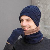 Erkekler Bayan Eşarp Kış Sıcak 3 Adet Set Örme Beanie Hat Eşarp Dokunmatik Eldiven / BY