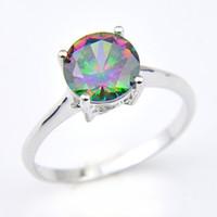 Luckyshine Mulher Jóias Rodada do arco-íris místicos Topaz Gemstone 925 anéis de noivado Zircon prata do arco-íris # 7 # 8 # 9
