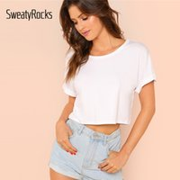 SweatyRocks Solid Roll Up Sleeve Crop Top Short Sleeve Basic...