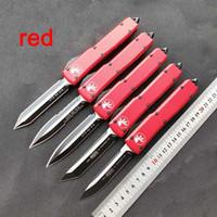 High-end! Micro-tech faca automática UTX 85 dupla ação tático faca carboneto de classe disjuntor Aviação Alumínio vermelho canivetes punho