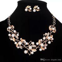 Vintage scintillante Set di gioielli da sposa placcato collana orecchini di diamanti Set di gioielli da sposa per la sposa Damigelle da sposa Accessori da sposa