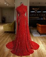 Arábia Saudita Sequins longo Mermaid Prom Vestidos Dubai Plus Size Sheer decote Evening Partido Bling vestidos com casaco senhoras elegantes online