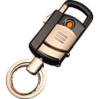 정직한 USB 충전 windproof 가벼운 창조적 인 다기능 자동차 키 체인 전자 담배 라이터 선물 폭발