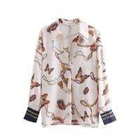 2018 Frauen Vintage Kette Schmetterling Druck Casual Kimono Blusen Hemd Frauen Herbst Chic Blusas Roupas Femininas Tops LS2669 Y190427