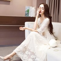 Elegant 2020 Lady Ruffled Summer Lace Dress Women Fashion Hollow Out Color Long Slim Party Dresses Vestidos WXF757