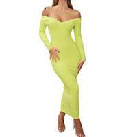 Kadın Sonbahar Seksi Çanta Kalça V yaka Tek Omuz Uzun Kollu Elbise Gece Kulübü Parti Katı Renk Elbise