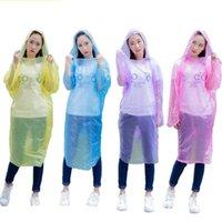 Extra Large Size Disposable Raincoat Hood Cap Pe solido di colore all'aperto Rafting Poncho indumenti impermeabili per adulti cappotto di pioggia all'ingrosso 0 6fsa E19
