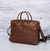 مصنع الجملة الرجال حقيبة جلدية محمولة حقيبة الرجعية مجنون الحصان الجلود حقائب الكمبيوتر المحمول الصليب متعدد الوظائف الجلود حقيبة الكتف حقيبة