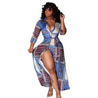 2020 Дизайнер Женская одежда Frigid Повседневная рубашка платья Разделить с длинным рукавом нагрудные Шея Печать Sexy Night ClubWear Midi платье Платье