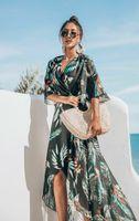 Brasão longa das mulheres Holiday Beach Casual Feminino Verão perca metade da luva Cardigan Impresso Bikini Cover Up Swimwear Plus Size