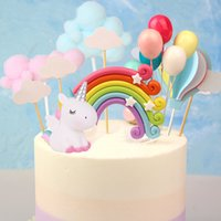 2020 Flags New unicornio del arco iris de la torta Nube Pastel de cumpleaños para niños favores de decoración de la torta para el postre primero de la magdalena de la boda decoración de la tabla