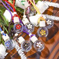 Bouteille de parfum de voiture suspendue arrière-plan arrière ornement d'ornement pour huiles essentielles Diffuseur Lhombus vides bouteille de verre pendentif