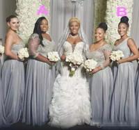 Африканский плюс размер платья невесты с длинными рукавами одно плечо горничной платье из бисера блестки два стиля свадебное платье