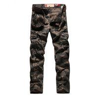 Uomini S Personalità Camouflage Uniformi Pantaloni lunghi Pantaloni merci Pantaloni militari Pantaloni militari Tasche di buona qualità Army Green Plus Size