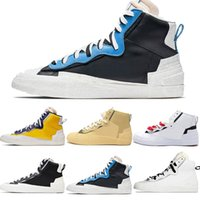 Nike Blazer Shoes Mens Brand Fashion Mens Blazer Mid Sacai Casual Running Shoes Combine Dunk Camo White Grey Maize Navy University Blue Outdoor Trainers