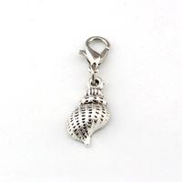 150pcs Antik Silver Conch Flytande Hummer Clasps Charm Pendants För Smycken Gör Armband Halsband DIY Tillbehör 9.5x33mm