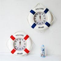 Leben Boje Wanduhr Rot Blau Dekorieren Uhren Home Hanging Ornamente Mute Willkommen an Bord Kreative Verkauf Mode 28zsc1