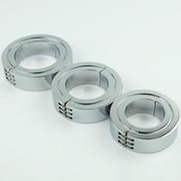 Großhandel-Edelstahl Hodensack Ring Metall Locking Klapp Cock Ring oder CBT Ball Stretchers Chrom-Finish Hodensack Stretchers