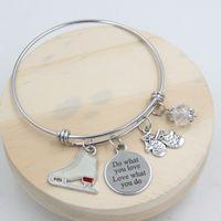 En gros Nouvelle Arrivée En Acier Inoxydable Bracelet Bracelet Bracelet Gants D'hiver Patin À Glace Charme Bracelet pour les femmes bijoux patineurs cadeau