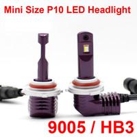 1 세트 초소형 미니 크기 CSP 칩 9005 HB3 P10 LED 헤드 라이트 1 : 1 오리지널 램프로 터보 팬 포커스 빔 35W 5200lm 6000K 안개