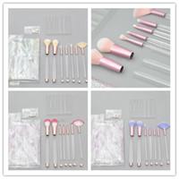 Makyaj Fırçalar Boş Temizle Saplı 7 Adet (10 Stil) taşınabilir ve Kozmetik Çanta ile Glitter Üzerinde 30 adet DHL Ücretsiz Kargo